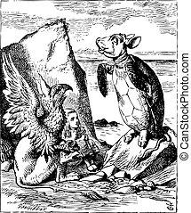 The Mock Turtle and Gryphon sing to Alice - Alice's Adventures in Wonderland original vintage engraving