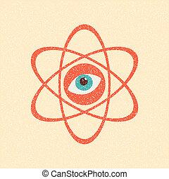 The model of a molecule atom. Retro poster