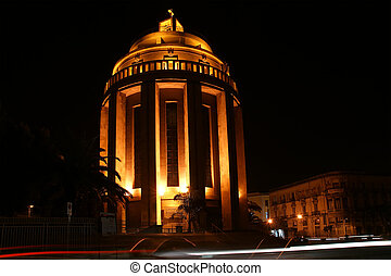 The modern Catholic Church at night. Syracuse (Siracusa, Sarausa)-- historic city in Sicily, Italy