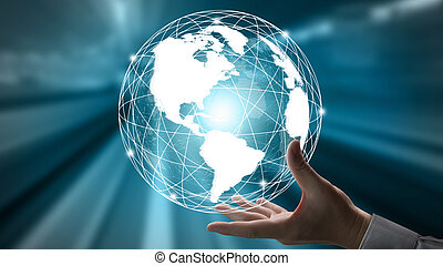 The modern creative telecommunication and internet network connect in smart city