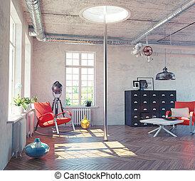 the modern loft interior with fire pole concept design (3d...