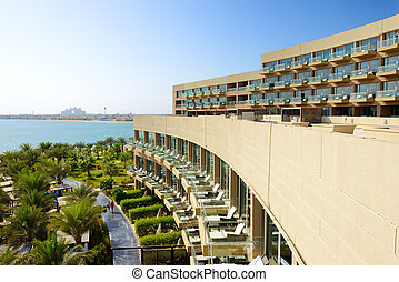 The modern luxury hotel on Palm Jumeirah man-made island, Dubai, UAE