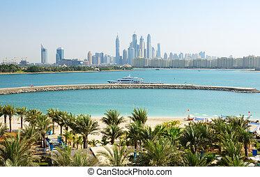 The modern luxury hotel on Palm Jumeirah man-made island,...