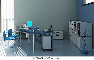 The modern office interior design 3d Illustration