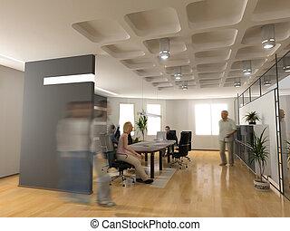 the modern office interior design (3d render)