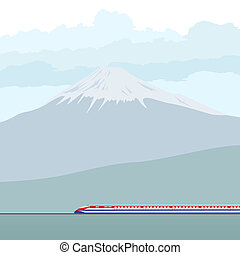 The modern passenger train against the mountain of Fujiyama. Japanese landscape.