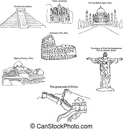 The modern seven wonders of the world. Sketch pencil. Drawing by hand. Vector