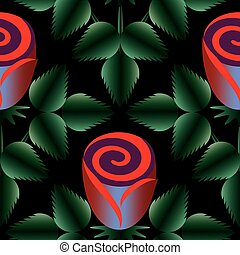 The module of pattern of roses on a black background