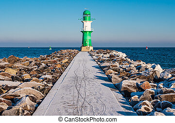 The mole in winter time in Warnemuende, Germany.