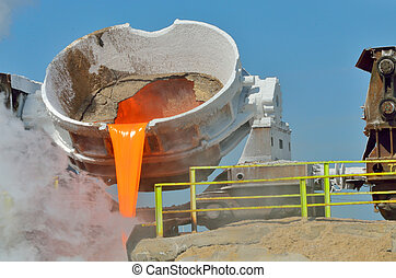 The molten slag is poured from a cup