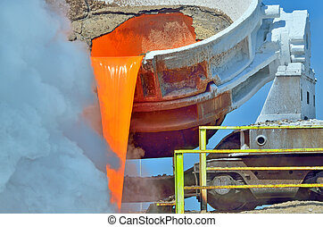steel is poured into the slag dump