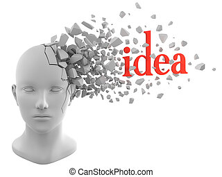 the moment of inspiration - a word of idea coming out from a...