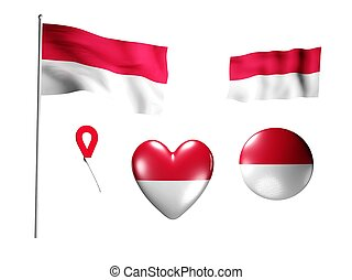 The Monaco flag - set of icons and flags