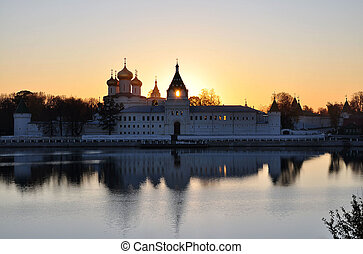 The monastery at sunset.