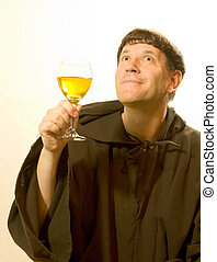 The Monk Praises the Wine - Photo of a monk looking enjoying...