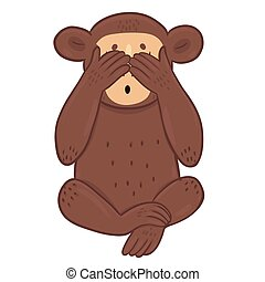 The monkey closed her eyes with her paws, isolated on a white background. Vector graphics.