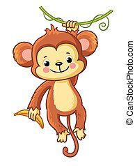 The monkey hangs on a branch.