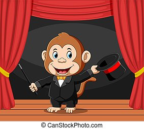 The monkey magician doing the attractions in the stage with the happy face