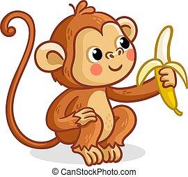 The monkey on a white background eats a banana.