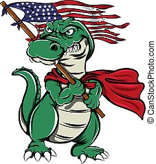 The monster crocodile holding the America flag with the scary face