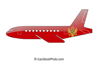 flag painted on the silhouette of a aircraft.