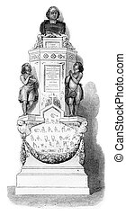 The monument of Abbe Epee in one of the chapels of Saint-Roch in Paris, vintage engraving.