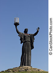 The monument of Motherland Calls in glory hill, memorial...