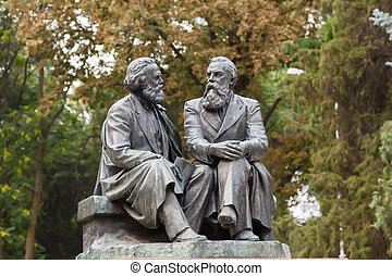 The monument to Karl Marx and Friedrich Engels. Kyrgyzstan, ...