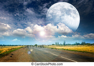 the moon and the road