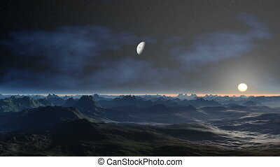 In dark the star sky the planet (moon) flies, nebulas float. Nod the horizon floats the coming sun. Under a flying planet the hills covered with a blue fog.