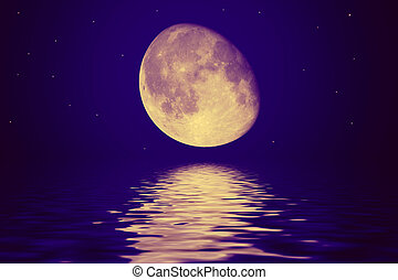 The moon is reflected in a wavy wate