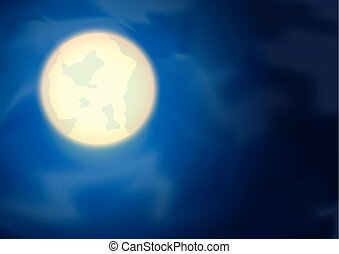 The Moon on Night Blue Sky