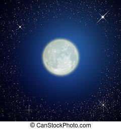 The moon on night sky