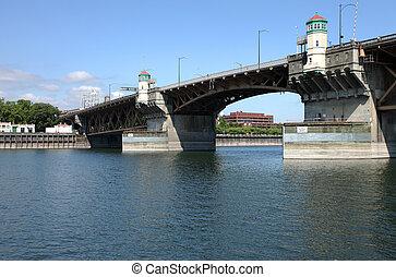 The Morrison bridge, Portland Orego - The Morrison bridge a...