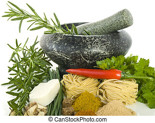 Mortar with different kind of herbs and spices