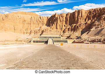 The Mortuary Temple of Hatshepsut, famous place of interest in Luxor, Egypt.