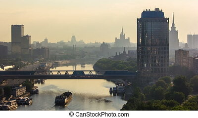 Bridge Bagration and Tower 2000 in Moscow-city business center timelapse