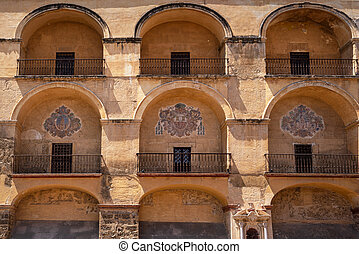 The Mosque Cathedral in Cordoba, Spain. Exterior wall facade view.