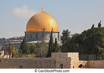 The mosque of Omar, Jerusalem, Israel. The golden dome shines in the morning sun.