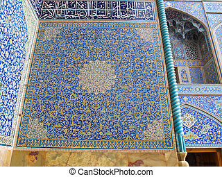 the mosque wall, oriental ornaments from Sheikh Loft Allah Mosque in Isfahan, Iran
