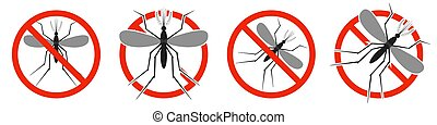 The Mosquito with red ban sign. STOP Mosquito sign.