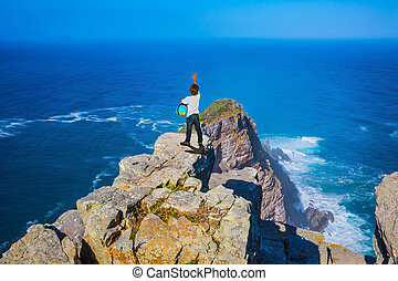 The most famous Cape of Good Hope, South Africa. Boy with a...