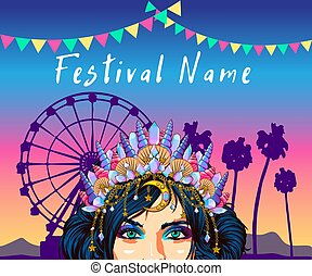 The most popular hairstyles COACHELLA Sequins for hair, Pretty sexy woman with shiny freckle makeup and hair buns.