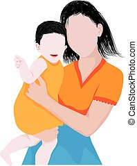 the mother with baby vector design