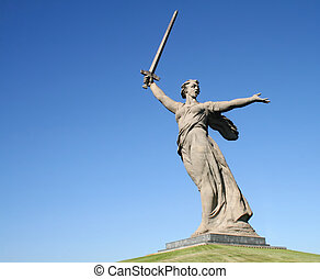 The Motherland Calls in Mamayev Kurgan in Volgograd, Russia
