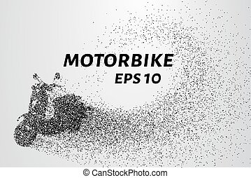 The motorbike of the particles. The motorbike breaks down into small circles and dots. Vector illustration