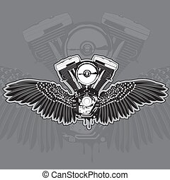 The motorcycle engine with wings and leaking from the bottom. Vector illustration.