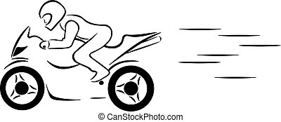 the motorcyclist rides a motorcycle