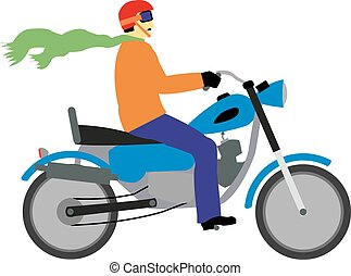 The motorcyclist with the red helmet