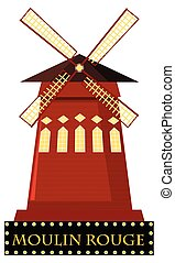 The moulin Rouge with windmall illustration